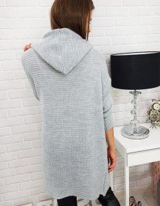 szary, elegancki sweter damski długi